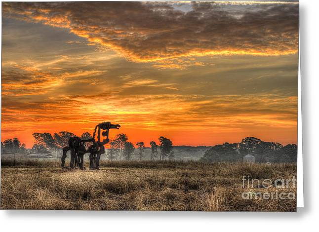 Campus Sculptures Greeting Cards - The Iron Horse 517 Sunrise Greeting Card by Reid Callaway