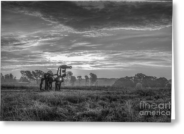 Campus Sculptures Greeting Cards - The Iron Horse A New Dawn 7 Greeting Card by Reid Callaway