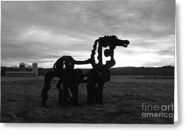Campus Sculptures Greeting Cards - The Iron Horse Classic Greeting Card by Reid Callaway