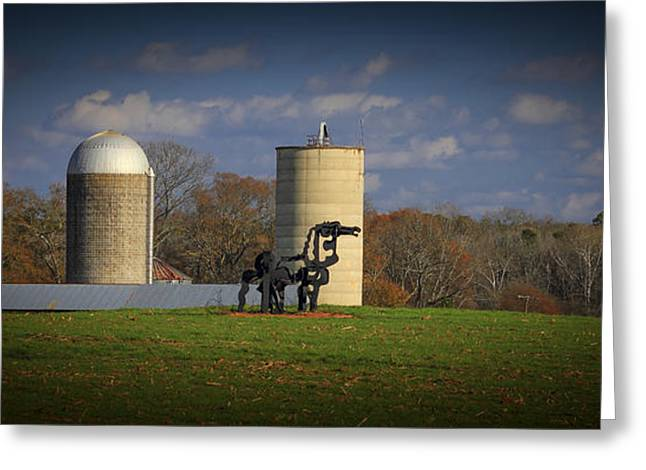Barn And Silo Greeting Cards - The Iron Horse Classic Silos 2 Greeting Card by Reid Callaway