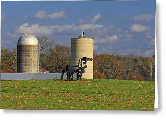 Barn And Silo Greeting Cards - The Iron Horse Classic Silos Greeting Card by Reid Callaway