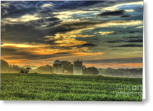 Campus Sculptures Greeting Cards - The Iron Horse New Corn Sunrise 2 Greeting Card by Reid Callaway