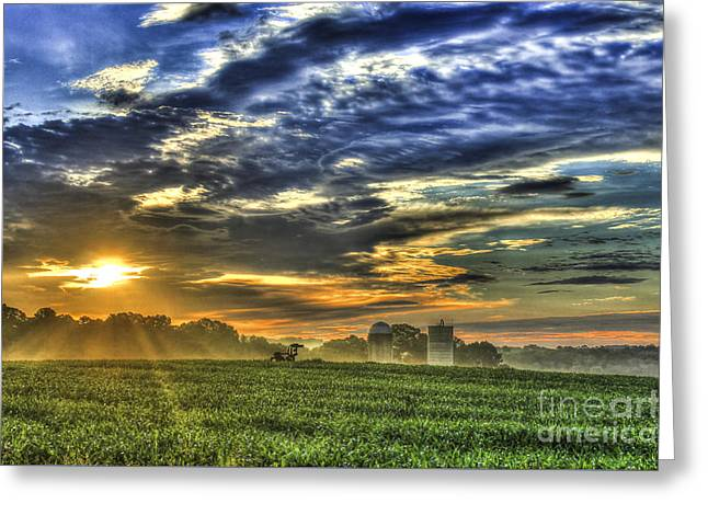 Georgia University Greeting Cards - The Iron Horse New Corn Sunrise Greeting Card by Reid Callaway