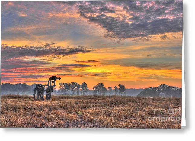 The Iron Horse New Sunrise Greeting Card by Reid Callaway