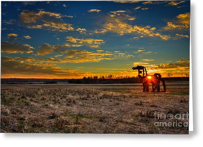 Atlanta University Greeting Cards - The Iron Horse Sunset Blues Greeting Card by Reid Callaway