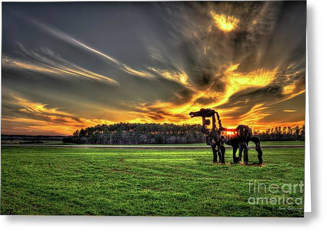 The Iron Horse Sunset Greeting Card by Reid Callaway