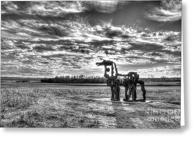 Campus Sculptures Greeting Cards - The Iron Horse Sunset Shadows Greeting Card by Reid Callaway
