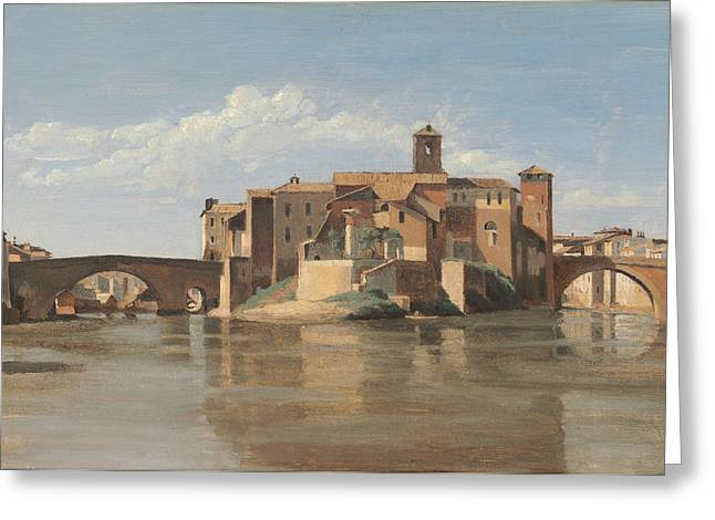 The Houses Greeting Cards - The Island And Bridge Of San Bartolomeo - Rome Greeting Card by Jean-baptiste-camille Corot