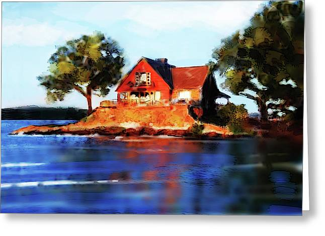 Lake House Greeting Cards - The Island House Greeting Card by Russell Pierce