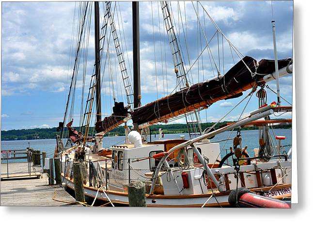 Blue Sailboats Greeting Cards - The Island Sea in Suttons Bay MI Greeting Card by Diane Lent