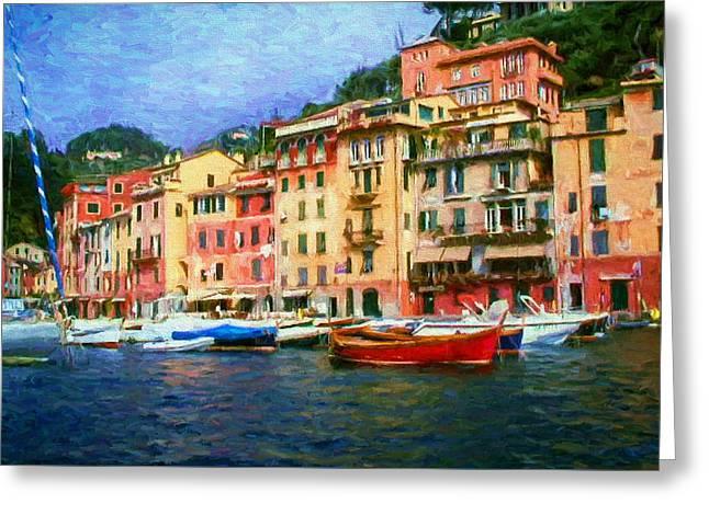Portofino Italy Digital Greeting Cards - The Italian Fishing Village of Portofino Greeting Card by Mitchell R Grosky