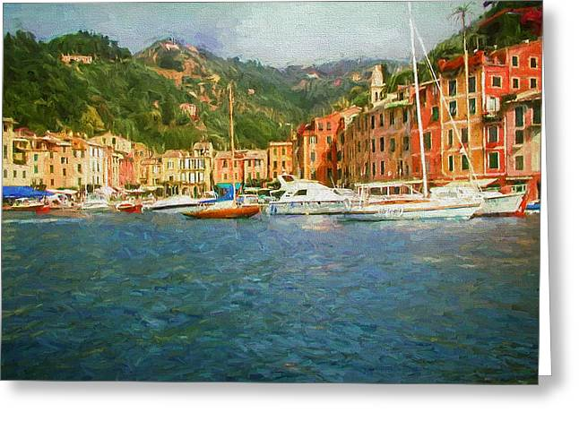 Portofino Italy Digital Greeting Cards - The Italian Village of Portofino Greeting Card by Mitchell R Grosky