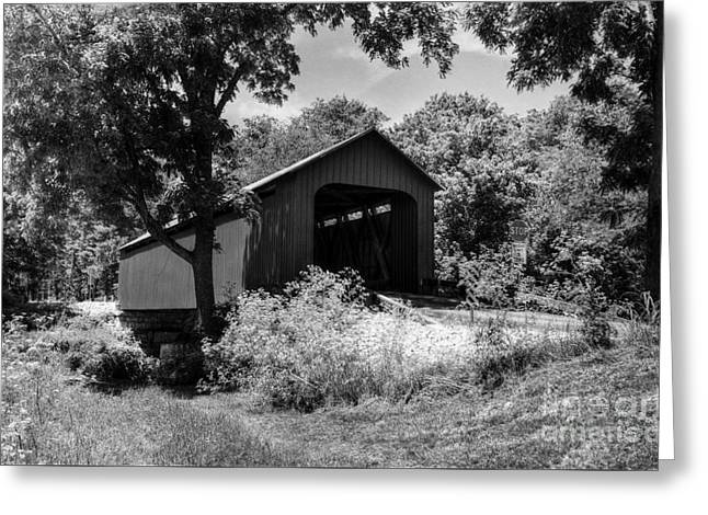 The James Covered Bridge Bw Greeting Card by Mel Steinhauer