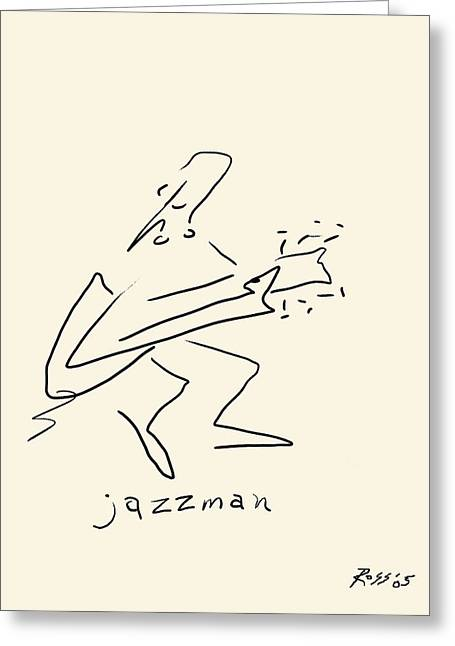 Ink Drawing Greeting Cards - The Jazz Man Greeting Card by Ross Powell