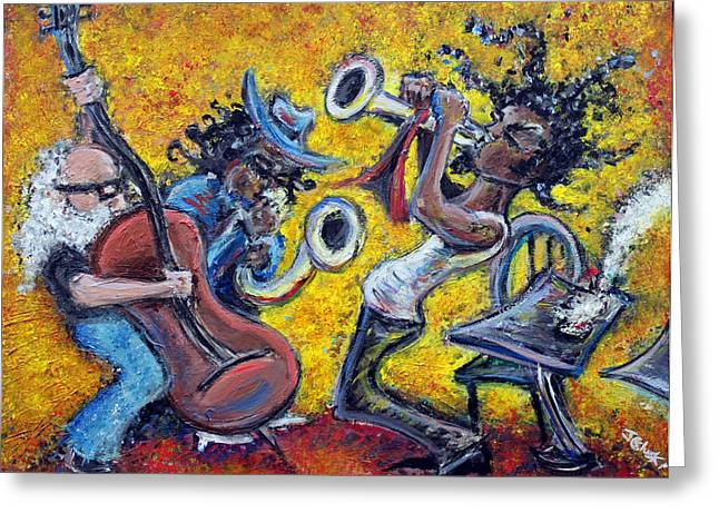Stand Up Bass Greeting Cards - The Jazz Trio Greeting Card by Jason Gluskin