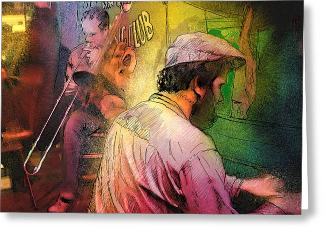 Jazz Musicians Mixed Media Greeting Cards - The Jazz Vipers in New Orleans 01 Greeting Card by Miki De Goodaboom