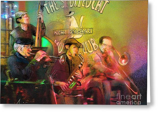 Jazz Musicians Mixed Media Greeting Cards - The Jazz Vipers in New Orleans 02 Greeting Card by Miki De Goodaboom