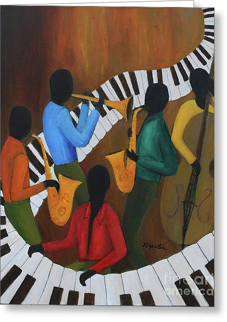 The Jazzy Five Greeting Card by Larry Martin