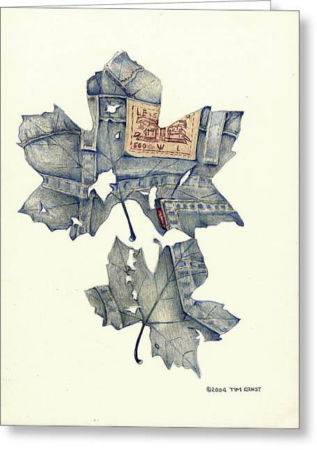 Levi Drawings Greeting Cards - The jeans leaf Greeting Card by Tim Ernst