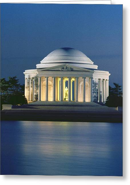 Franklin Roosevelt Greeting Cards - The Jefferson Memorial Greeting Card by Peter Newark American Pictures