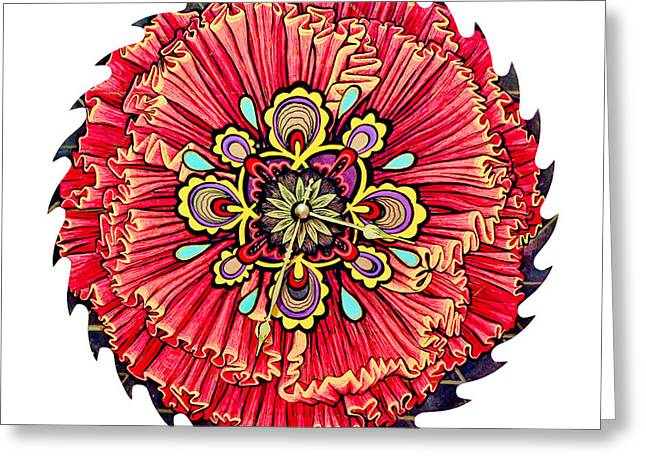 Saw Mixed Media Greeting Cards - The Jessie-Rose Clock Blossom Greeting Card by Jessica Sornson