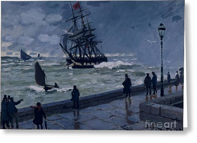 Boats At The Dock Greeting Cards - The Jetty at Le Havre in Bad Weather Greeting Card by Claude Monet