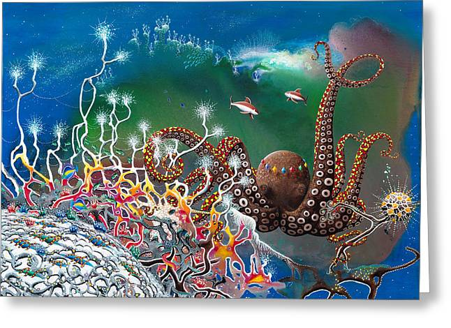 Recently Sold -  - Angel Mermaids Ocean Greeting Cards - The Jeweled Octopus Greeting Card by Lee Pantas
