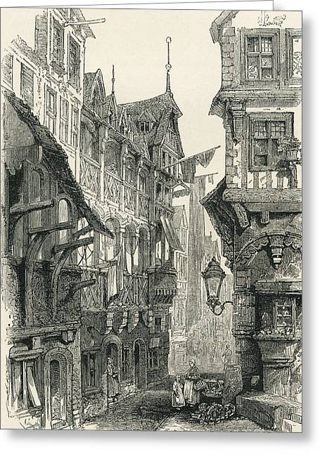Ghetto Drawings Greeting Cards - The Jewish Quarter, Frankfurt Am Main Greeting Card by Ken Welsh