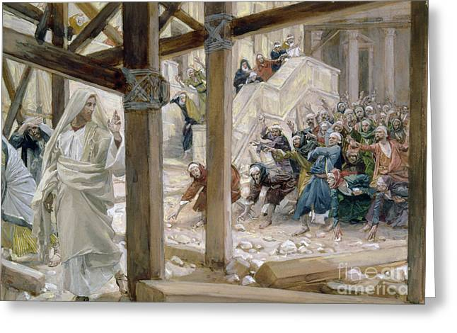 First Love Greeting Cards - The Jews took up Stones to Cast at Him Greeting Card by Tissot