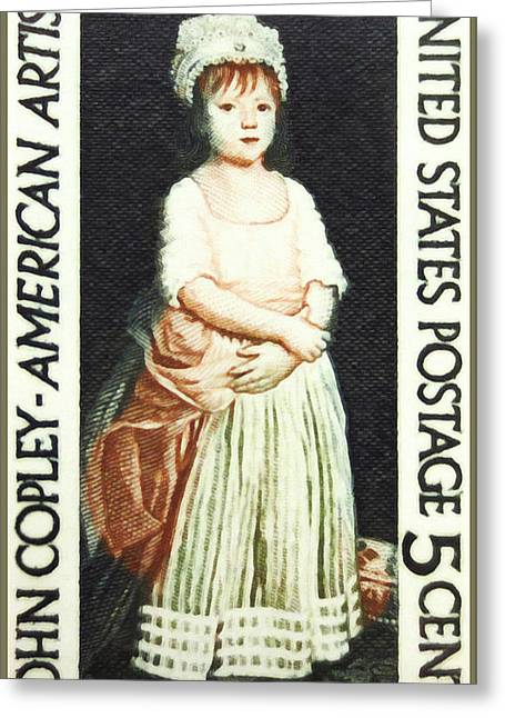Vintage Painter Greeting Cards - The John Singleton Copley stamp Greeting Card by Lanjee Chee