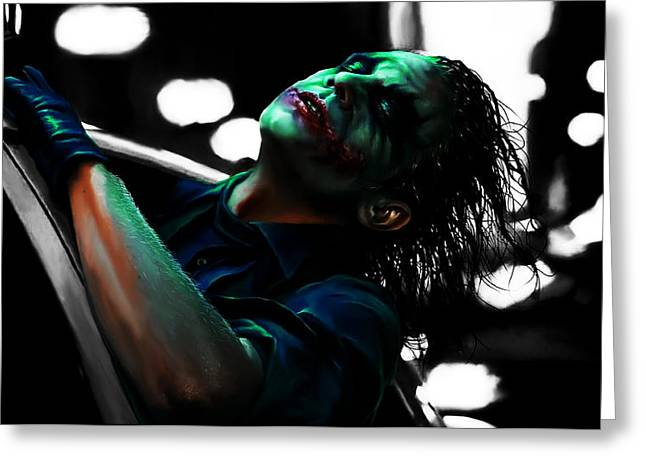 Killer Clown Greeting Cards - The Joker 4c Greeting Card by Brian Reaves