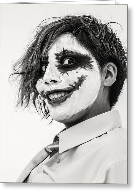 Clown Black And White. Greeting Cards - The Joker Greeting Card by Hsin Liu