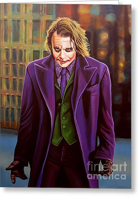 Character Portraits Greeting Cards - The Joker in Batman  Greeting Card by Paul Meijering