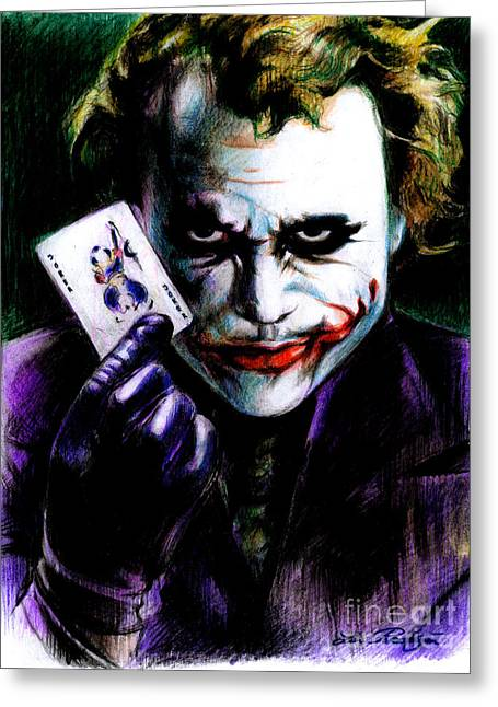 Heath Ledger Greeting Cards - The Joker Greeting Card by Lin Petershagen