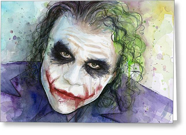 Superheroes Mixed Media Greeting Cards - The Joker Watercolor Greeting Card by Olga Shvartsur