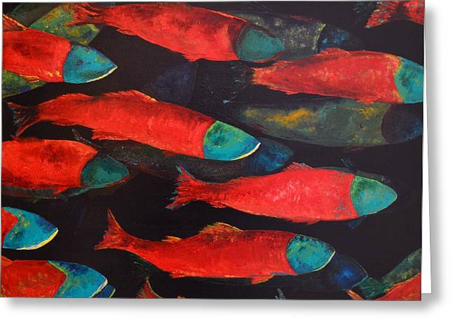Salmon Paintings Greeting Cards - The Journey Greeting Card by Joy  Pesaturo