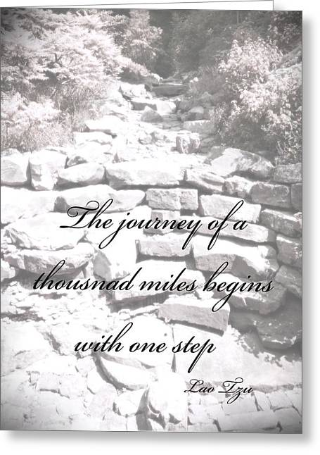 Stepping Stones Greeting Cards - The Journey Quote  Greeting Card by Ann Powell