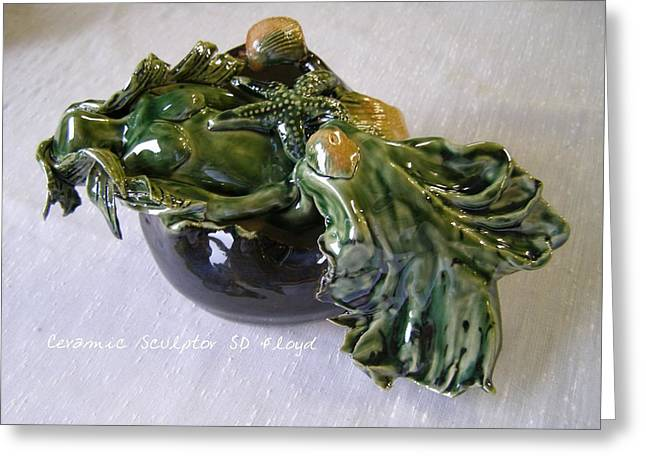 Glazed Pottery Ceramics Greeting Cards - The Journey Greeting Card by Sandi Floyd