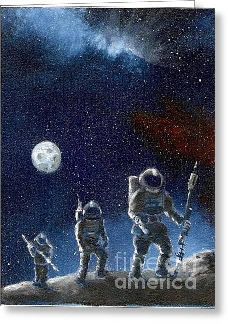 Outerspace Greeting Cards - The Journeymen Greeting Card by Murphy Elliott
