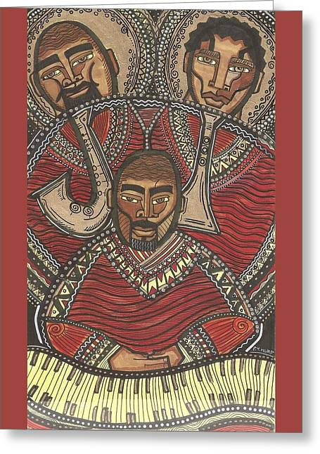 African-american Greeting Cards - The J.O.Y. Band Greeting Card by Perrion Hurd