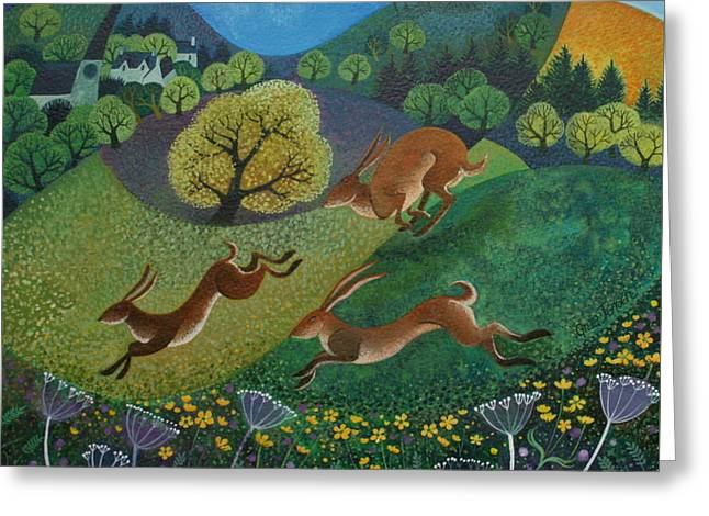 March Hare Greeting Cards - The Joy of Spring Greeting Card by Lisa Graa Jensen