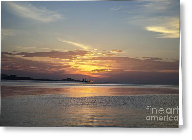 Michelle Greeting Cards - The Junk At Sunset Greeting Card by Michelle Meenawong