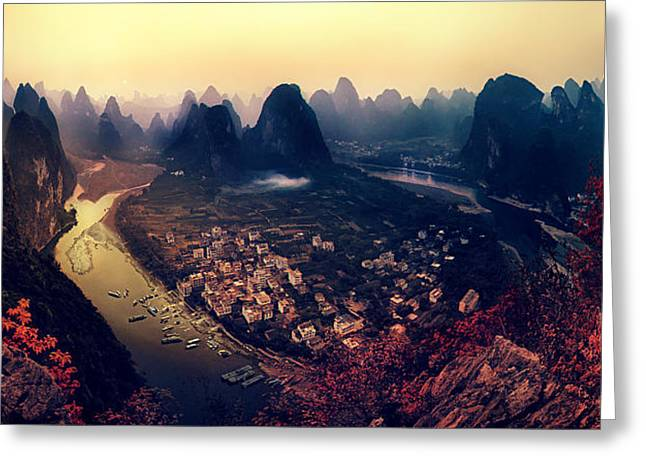 Fineart Greeting Cards - The Karst Mountains Of Guangxi Greeting Card by Clemens Geiger