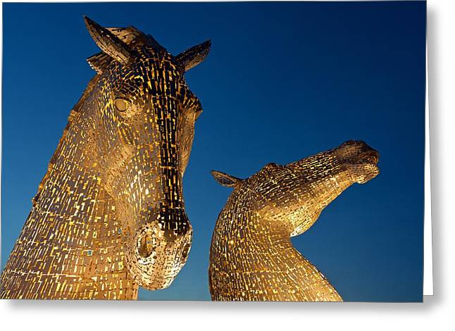The Kelpies At Dusk Greeting Card by Stephen Taylor
