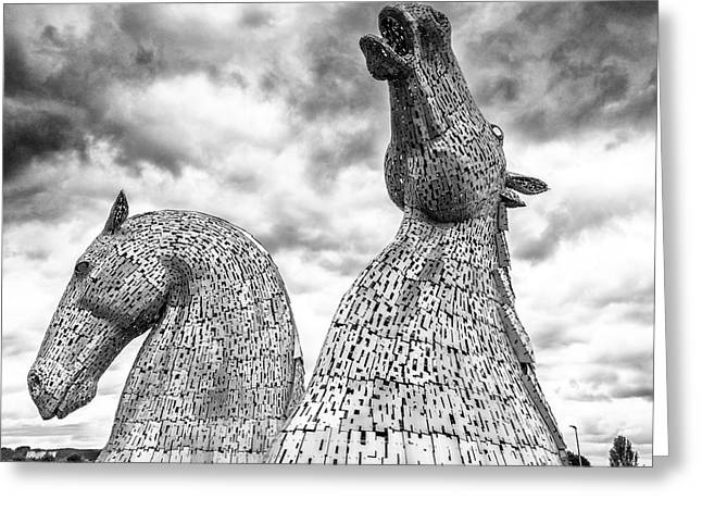 Clydesdale Greeting Cards - The Kelpies at Falkirk Greeting Card by Janet Burdon