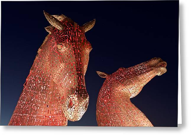 The Kelpies Illuminated Red Greeting Card by Stephen Taylor