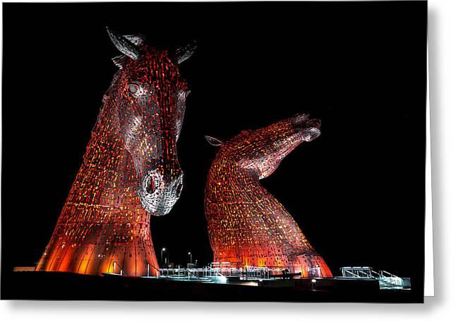 Recently Sold -  - Helix Greeting Cards - The Kelpies of Falkirk Greeting Card by Gary Finnigan