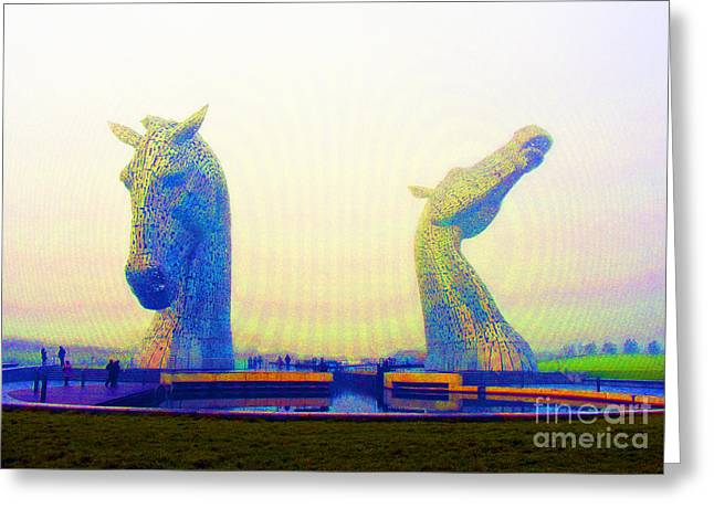 Kelpie Photographs Greeting Cards - The Kelpies. Greeting Card by Stan Pritchard