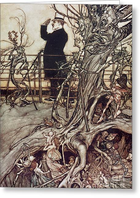 Where Greeting Cards - The Kensington Gardens are in London where the King lives Greeting Card by Arthur Rackham