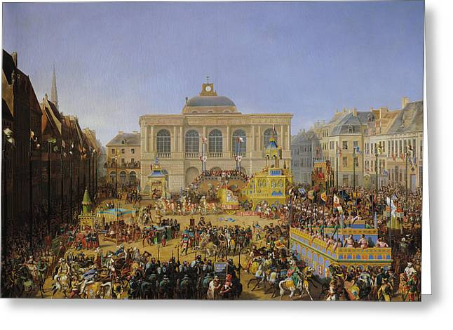 The Horse Greeting Cards - The Kermesse at Saint-Omer in 1846 Greeting Card by Auguste Jacques Regnier